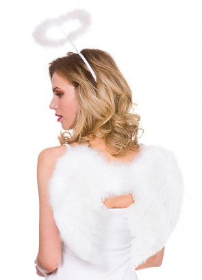 White Angel Wings & Halo Set 32cm x 48cm
