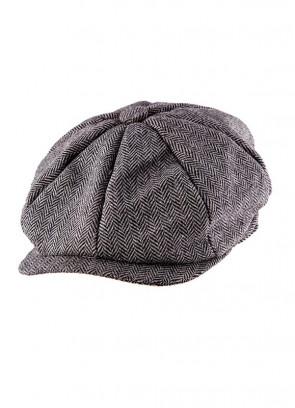 Flat Cap – Grey Herringbone