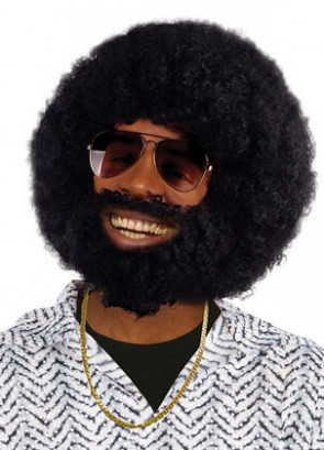 Black Afro Beard And Wig