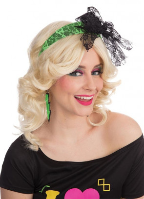 80s Neon Green Headband With Bow