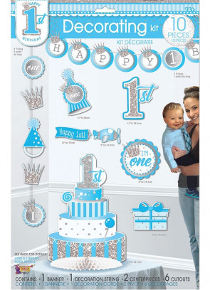 Happy 1st Birthday Decorating Kit – Baby Boy - 10 piece Set