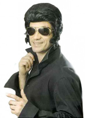 The-King - Black Quiff Greaser Wig