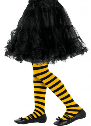 Yellow & Black Striped Kids Bumblebee Tights Age 8-12