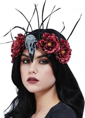 Bird Skull & Feather Headband with Flowers