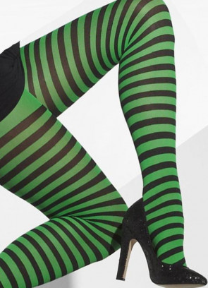 Black & Green Striped Tights - Dress Size 6-18