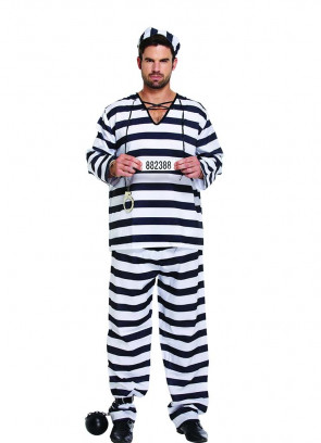 Black & White Striped Convict or Prisoner Costume