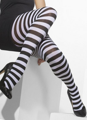Black & White Striped Tights - Dress Size 6-18