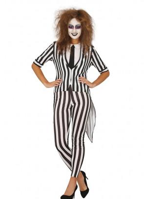 Black & White Wacky Ghost Ladies Costume