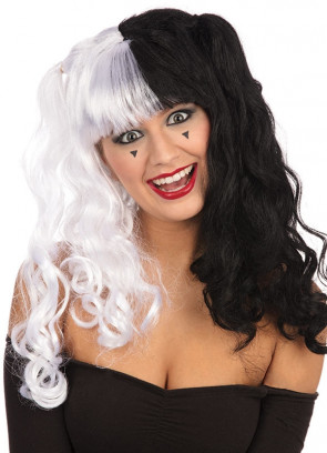Long Black and White Bunches Wig