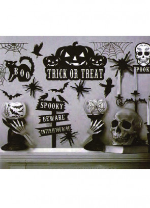Black and White Halloween Window Stickers - 11 stickers