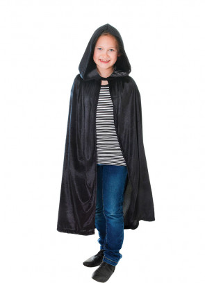 Black Velvet Hooded Cape (Kids)