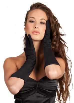 Black Elbow Length Gloves