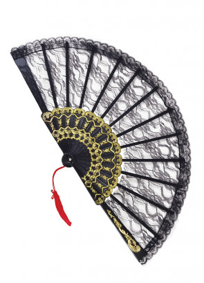 Black Lace Fan with gold detail - 23cm