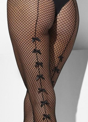 Black Fishnet Tights with Satin Bows - Dress Size 6-18