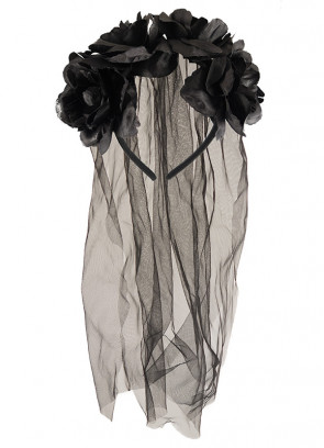 Black Flower Headband and Veil
