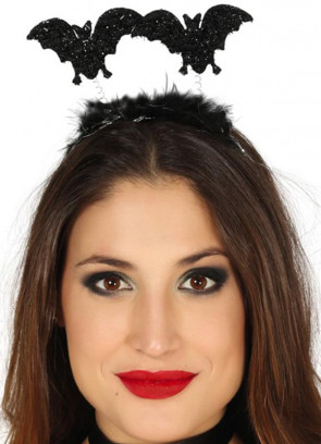 Black Glitter Bat Headband