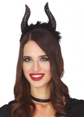Black Glitter Horns on Headband