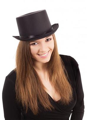 Black Satin Top Hat - Showman