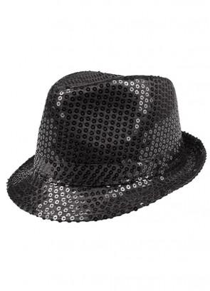 Black Sequin Fedora / Trilby Hat