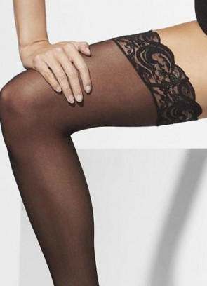 Black Sheer Stockings Hold-Ups - Dress Size 6-14