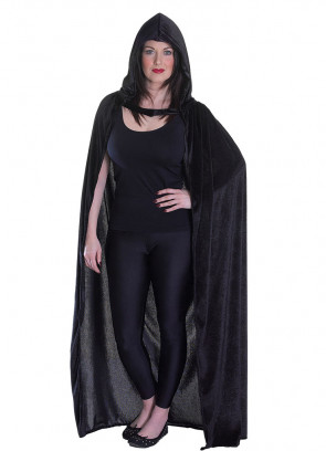 Black Velvet Hooded Cape - Satin Lined