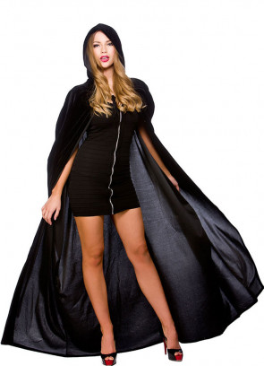 Black Velvet Hooded Cape - 140cm