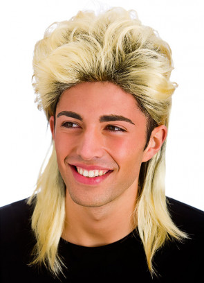 Blonde Mullet Wig (Dark Roots)