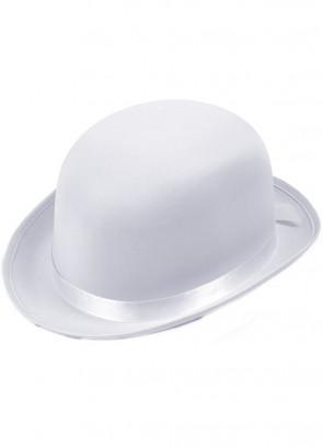 Bowler Hat White Satin