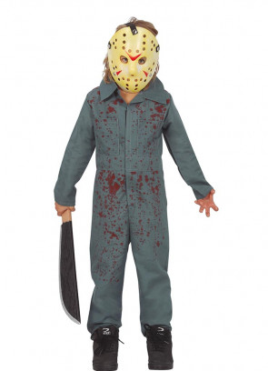 Boys Hockey Mask Boilersuit Costume