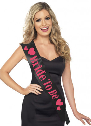 Sash Black & Pink (Bride To Be) Hen Party Sash
