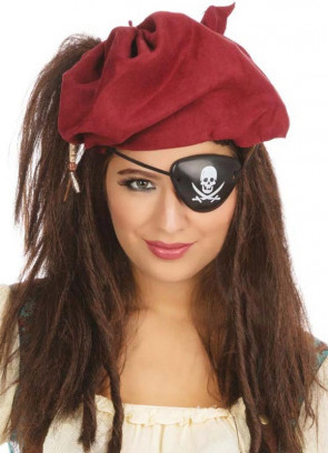 Brown Pirate Wig with Bandana & Eye Patch