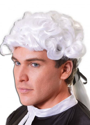 White Barrister Court Wig With Ponytail