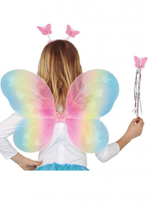 Butterfly Multicoloured Wings, Tiara and Wand Set 40x49cm