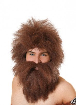 Brown Caveman Wig & Beard