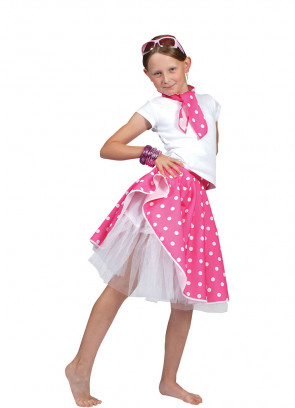 Childs Rock and Roll Polkadot Skirt Pink