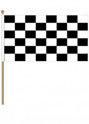 "Checkered Black and White Hand Flag 18"" x 12"""