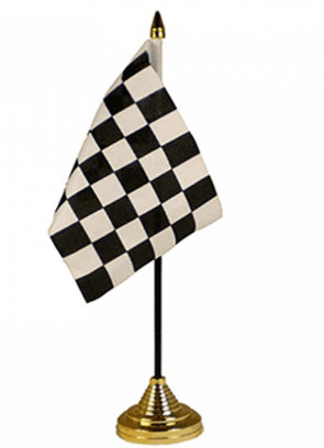 """Checkered Black and White Table Flag 6"""" x 4"""""""
