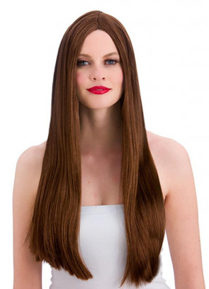 "Classic Long 24"" Brown Wig"