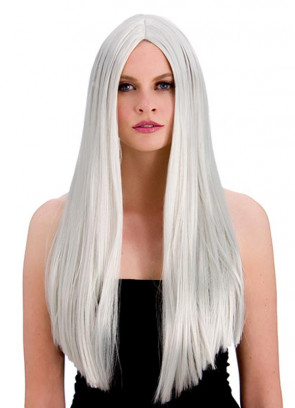 """Classic Long 24"""" Silver Wig"""
