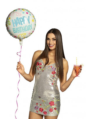 Colourful 'Happy Birthday' Foil Balloon – Double-Sided – Helium or Air-fill – 45cm