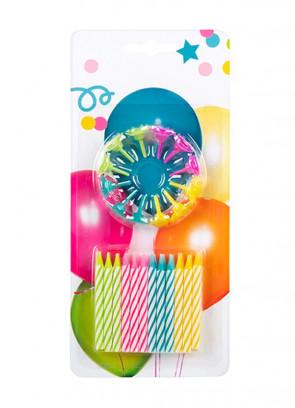 Colourful Swirl Birthday Candles – 24pk