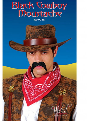 70s Moustache or Cowboy - Black