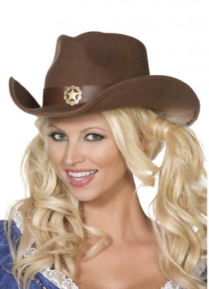 Brown Cowgirl Hat Faux Suede