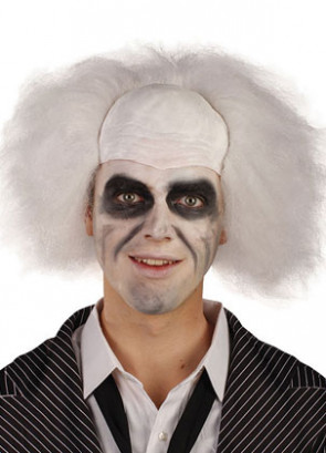 Crazy Professor Guy - Bah Humbug Wig - White