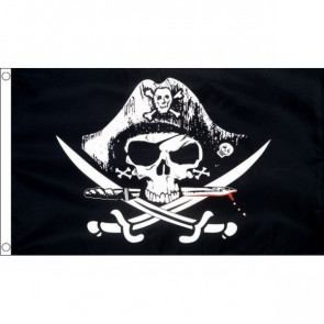 Pirate Skull with Crossed Sabres Flag 5ftx3ft