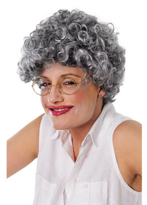 Granny Old Lady - Grey Curly Wig