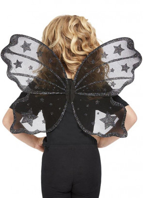 Dark Butterfly Wings with Black Glitter Kids 44x56cm