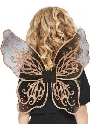 Dark Butterfly Wings with Rose Gold Glitter Kids 42x45cm