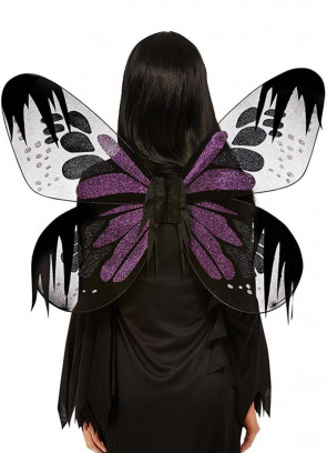 Dark Fairy Wings with Purple Glitter Adults 61x69cm