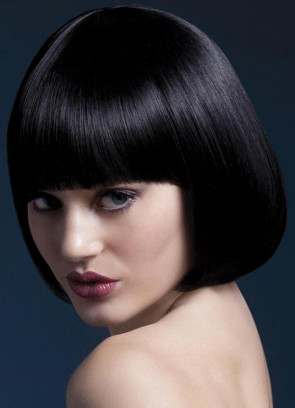 Deluxe Mia Short Bob Wig with Fringe - Black - Styleable